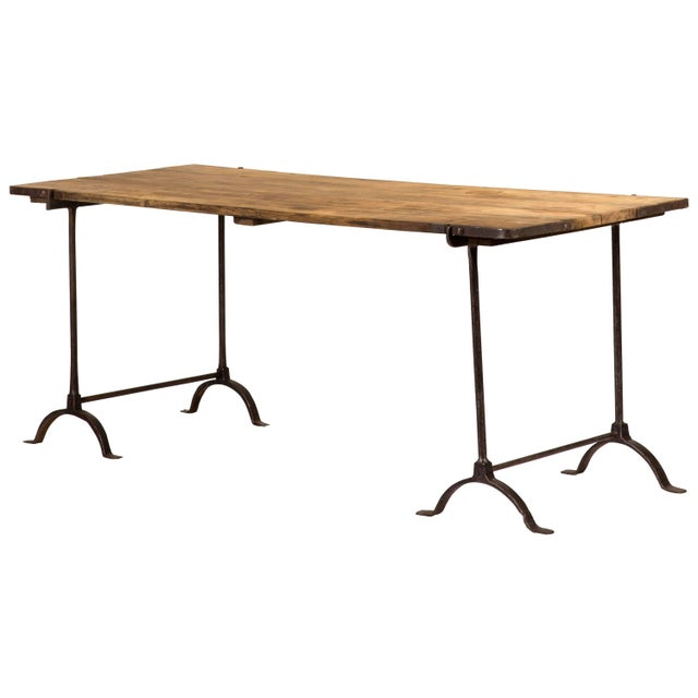 1850s England Trestle Table With Iron Legs and Oakwood Top For Sale - Image 9 of 9