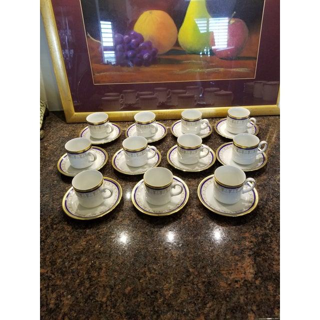 Pretty vintage set of German porcelain Demitasse cups and saucers by Tirchenreuth of Bavaria.