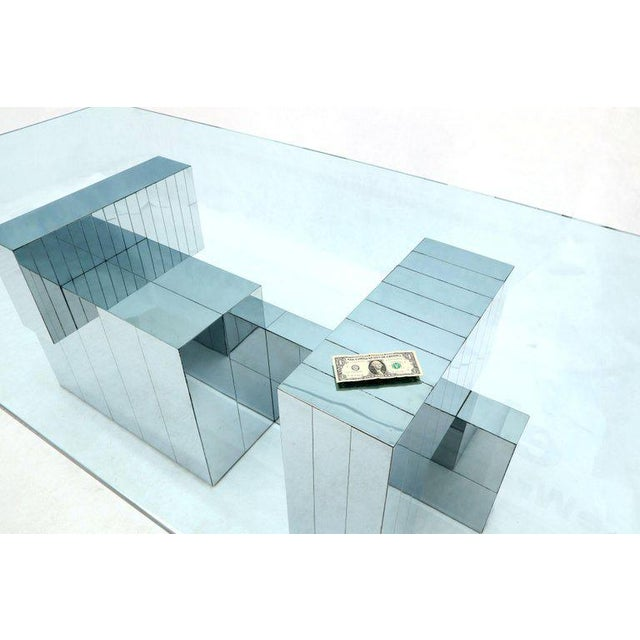 Paul Evans for Directional Large Chrome Glass Top Dining Conference Table For Sale - Image 6 of 13