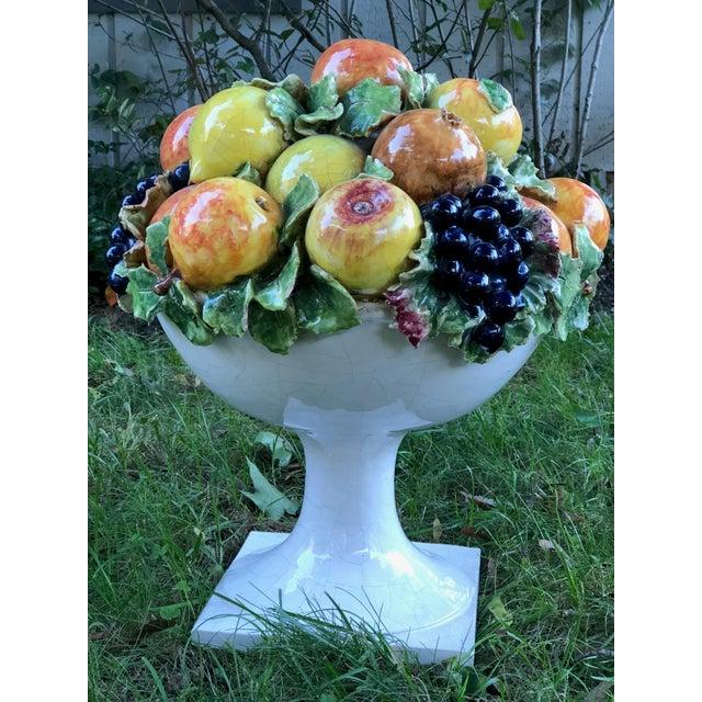 Italian Majolica Ceramic Fruit Basket Centerpiece For Sale In New York - Image 6 of 11