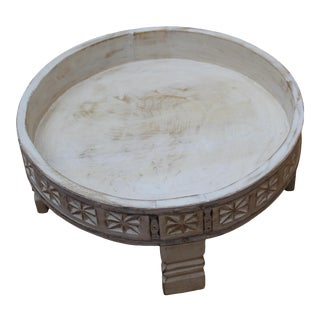 Indian Wooden Round White Wash Grinder Table For Sale