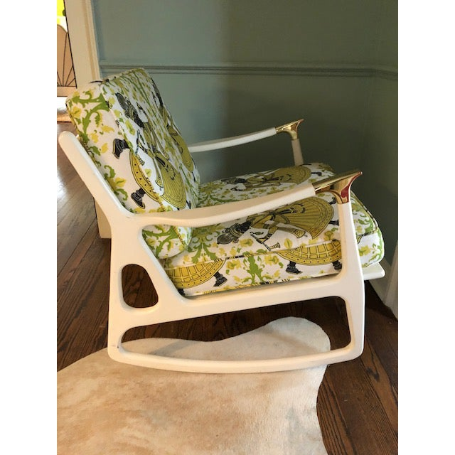 "Lacquered Christopher Farr's ""Dancer"" Fabric Rocking Chair For Sale - Image 4 of 7"