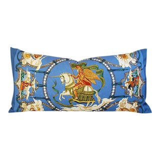 "Custom Hermes ""Cavaliers Des Nuages"" Silk Scarf Feather/Down Pillow 34"" x 17"""
