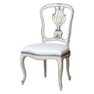 Wonderful Swedish Style Painted Side Chair With Blue Accents For Sale