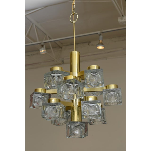 This Chandelier By Italian Gaetano Sciolari Has 13 Cube Glass Lights Suspended From A Sculptural Brass