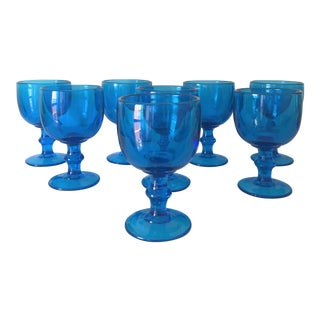 1970s Mid-Century Modern Hand-Blown Turquoise Blue Goblets - Set of 8