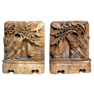 1940s Chinese Hand Carved Soapstone Bookends - a Pair For Sale