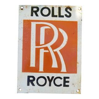 Vintage Enamel Rolls Royce Sign For Sale