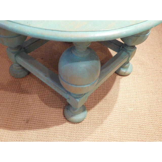 Painted Turquoise Table With Gold Glaze - Image 4 of 9