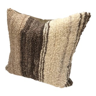 Custom Pillow Created from Vintage Hand Loomed Wool Moroccan Beni Ouarain Rug For Sale
