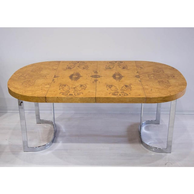 Lane Furniture Expandable Burl Wood Dining Table by Milo Baughman for Lane Furniture For Sale - Image 4 of 9