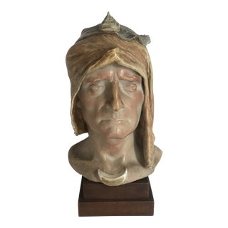 Early 20th Century Antique Alphone Amedee Cordonnier Sevres Ceramic Bust of Dante Sculpture For Sale