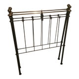 Image of Antique Art Nouveau Twin Metal Headboards - a Pair For Sale