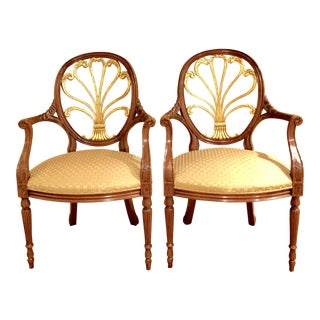 """Hickory Chair """"Anthemion Back Fauteuil"""" Mahogany With Gold Leaf Chairs - a Pair"""