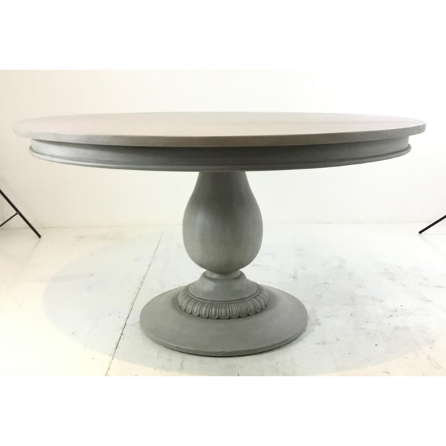2010s Ave Home French Country Style Gray Pedestal Dining Table For Sale - Image 5 of 5