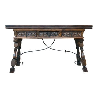 20th Century Spanish Console Fold Out Table With Iron Stretcher & Three Drawers For Sale