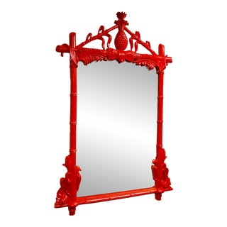 Vintage Chinoiserie Lacquered Mirror by Gampel-Stoll For Sale