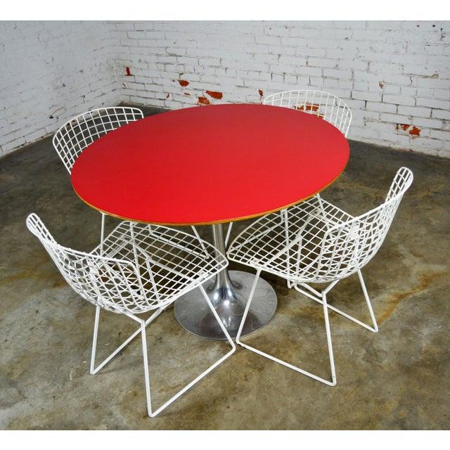 Vintage Mid-Century Modern Bertoia White Wire Side Chairs For Sale - Image 10 of 11