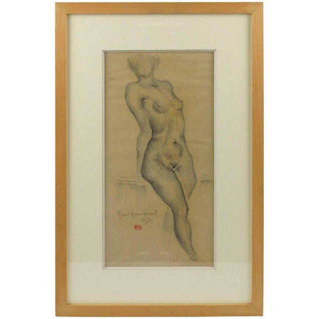 1934 French Marie Louise Simard Nude Female Study Pencil Drawing - Image 10 of 10