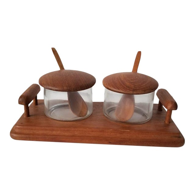 Mid-Century Danish Modern Goodwood Teak Wood Condiment Set- 5 Pc. Set For Sale