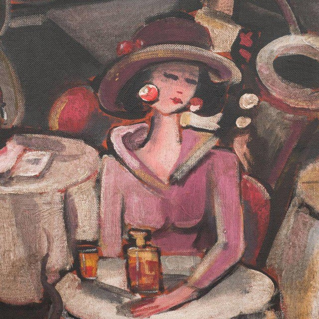 """1920s Art Deco Oil on Canvas Painting, Entitled """"Aux Chat Qui Peche"""" For Sale - Image 5 of 11"""