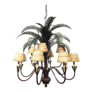 Currey & Co. Large Sculptural Metal Palm Tree Chandelier