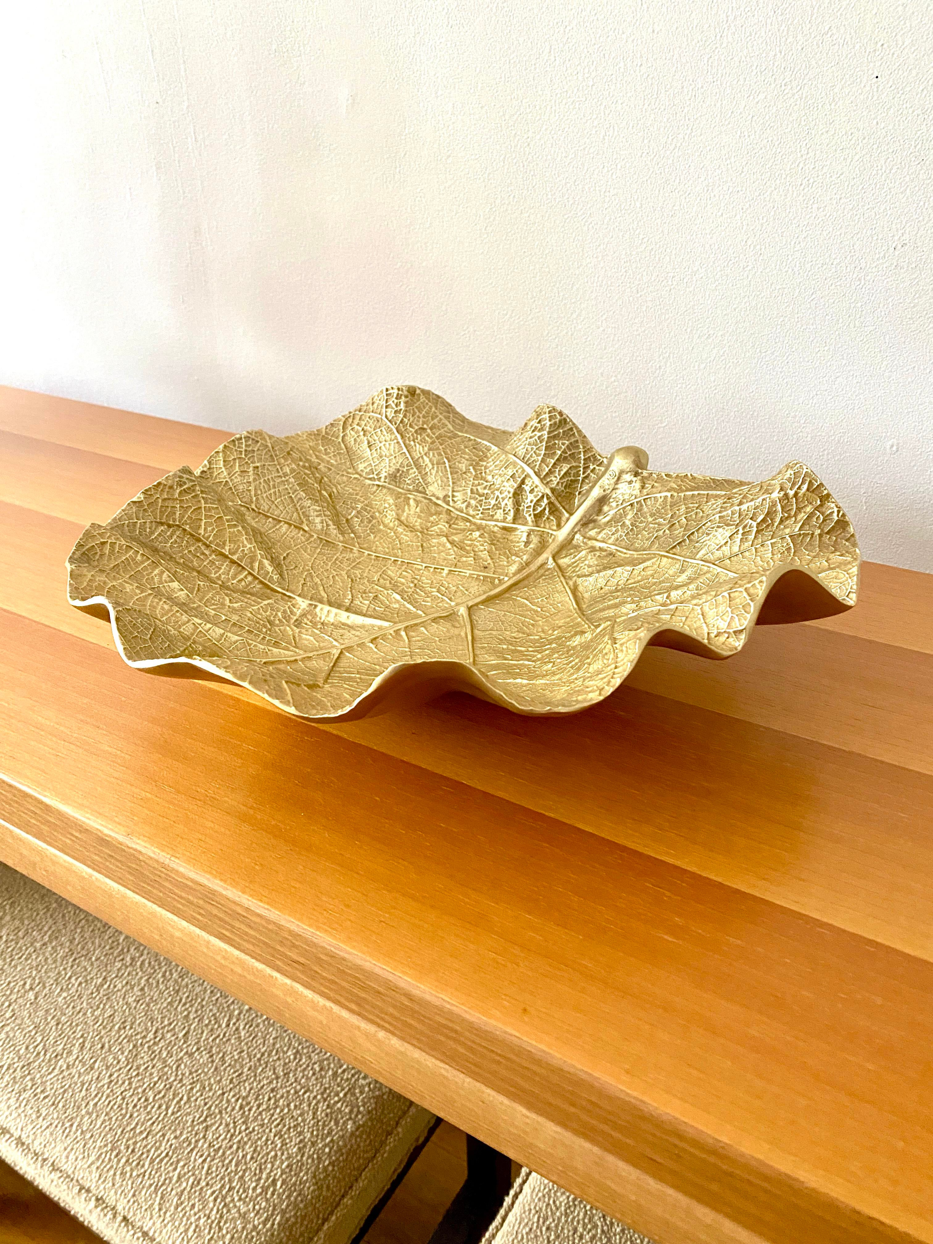 1945 Virginia Metalcrafters Sea Grape Leaf BowlDish #3513 Gold Anodized Cast Aluminum Large 13.5\u201d Vintage Mid-Century