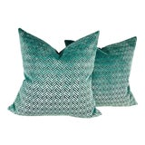 Image of Teal & Gray Geometric Cut Velvet Pillows – a Pair For Sale