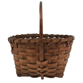 Antique Splint Basket With Carved Wood Handle For Sale