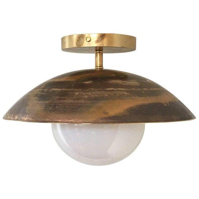 Contemporary Sasco Brass and Glass Globe Semi-Flush Mount Pendant Light For Sale - Image 3 of 9