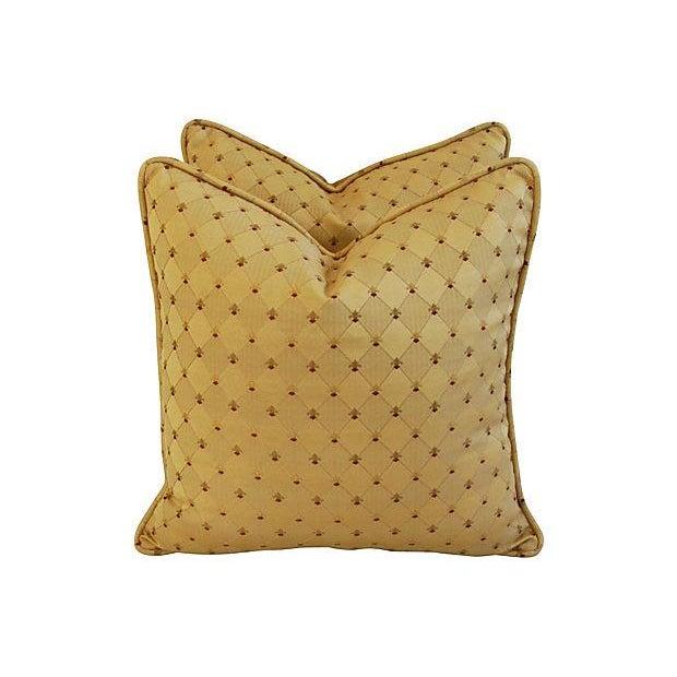 Custom French Golden Fleur-De-Lis Pillows - A Pair - Image 3 of 7