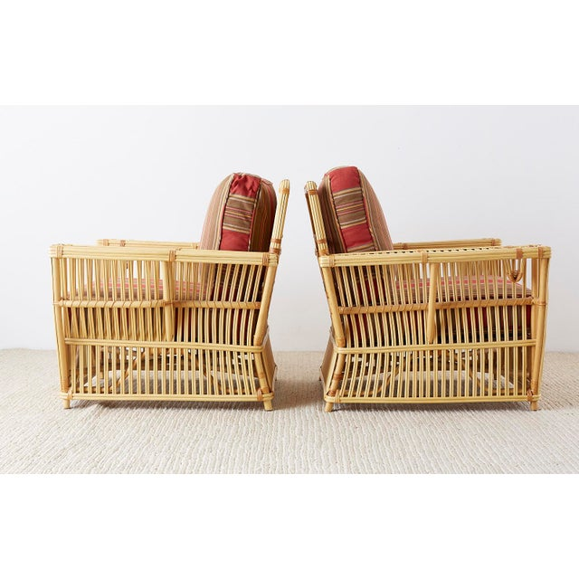 Art Deco Pair of Bielecky Stick Wicker Rattan President Lounge Chairs For Sale - Image 3 of 13
