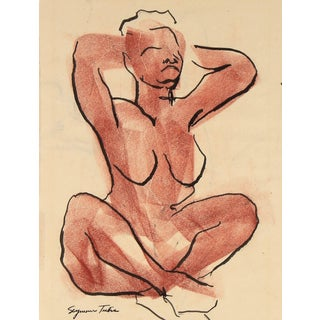 Seymour Tubis Mid-Century Seated Figure Sketch in Ink and Pastel For Sale