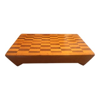 Vintage Handcrafted End-Grain Wood Cheese/Bread Cutting Board For Sale