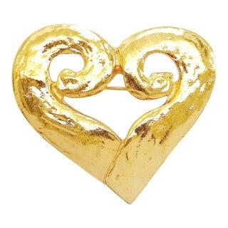 Matelassé Heart Brooch by Yves Saint Laurent Rive Gauche For Sale