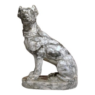 19th Century French Gray & White Marble Dog Figure For Sale