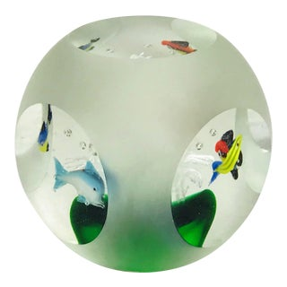Mid Century Art Glass Fish Bowl Paper Weight For Sale