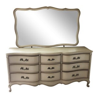 1970s French Provincial Dresser With Mirror For Sale
