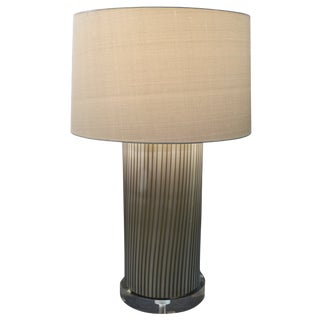 Gray and White Glass Cilindro Lamp