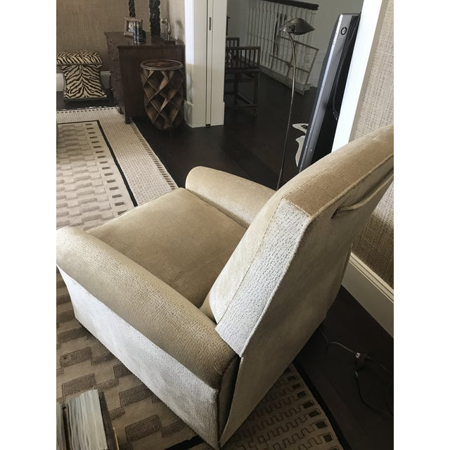 Edward Ferrell-Lewis Mittman Greenwich Club Full Pitch Recliner - Fabric Is Lee Jofa Threads - Pattern Calisto - Color Parchment For Sale - Image 6 of 11