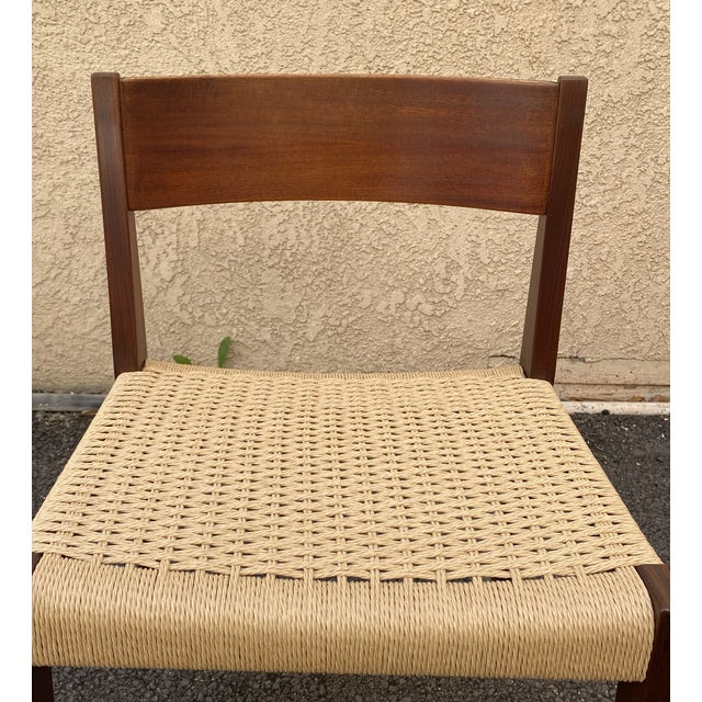 Niels Otto Møller Set of 4 Danish Teak Cord Seat Dining Chairs For Sale - Image 4 of 12