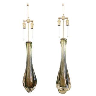 Amber and Green Glass Table Lamps by Val St Lambert For Sale