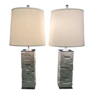 """1960s Vintage Heinrich """"Tetris"""" Table Lamps - A Pair For Sale"""