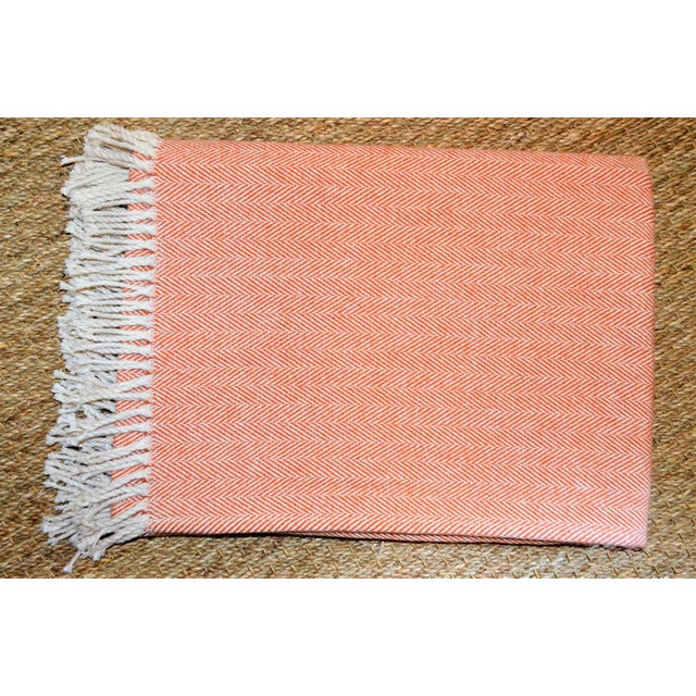 Peach Summer Weight Italian Apricot and Cream Cotton Throw For Sale - Image 8 of 9