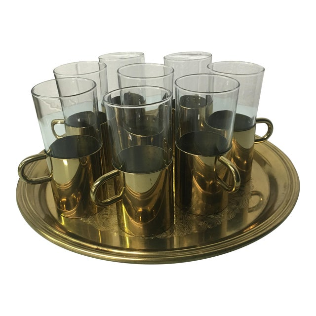 Turkish Coffee Glasses With Tray - Set of 8 - Image 1 of 8