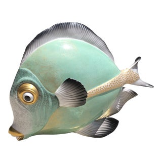 Late 20th Century Giulia Mangani for Oggetti Hand-Painted Gilt Porcelain Fish Sculpture For Sale