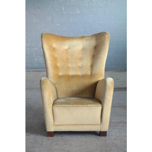1940s Fritz Hansen Model 1672 Highback Mohair Lounge Chair Danish Midcentury 1940's For Sale - Image 5 of 14