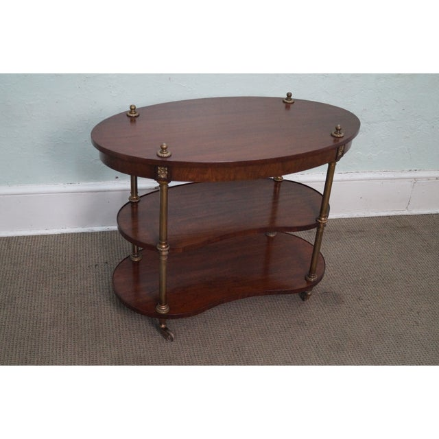 Mahogany 3-Tier Rolling Etagere Cart by Henredon - Image 7 of 10