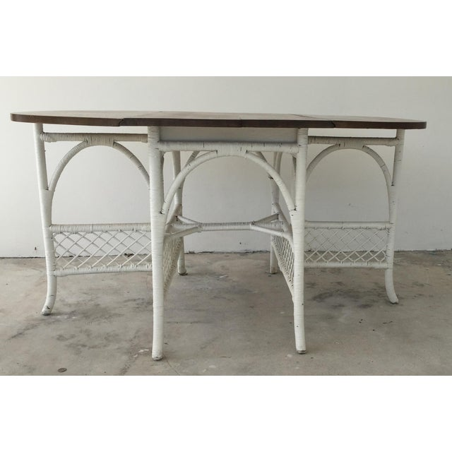 Boho Chic Wicker & Oak Drop-Leaf Dining Table For Sale - Image 3 of 10