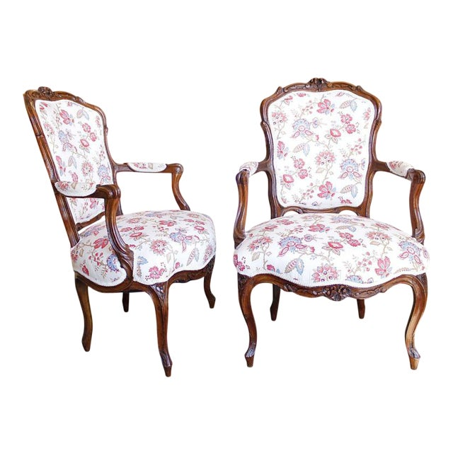 18th Century French Provincial French Louis XV Fauteuil Arm Chairs - a Pair For Sale